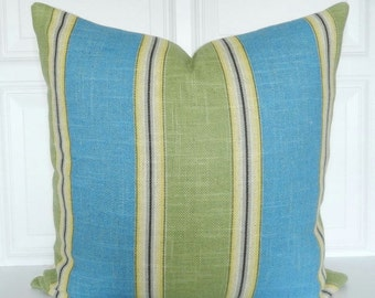 Blue and Green Pillow Cover  - Decorative Pillow - 18x18, 20x20, 22x22 - Lumbar - Striped - Green, Blue, Yellow - Throw Pillow - Toss Pillow