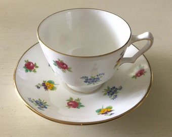 Vintage Crown Staffordshire bone china multicolor flower tea cup
