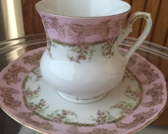 vintage Royal Austria pink and gold trimmed demitasse cup and saucer