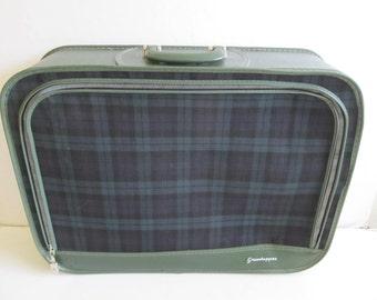 Grasshopper Suitcase, Luggage, Red Plaid Luggage, Red Plaid Suitcases, Suitecases, Vintage Luggage, Vintage Suitcases Tartan Suitcases Plaid