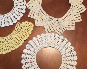 Vintage Crochet Collars - Crochet Collars - Costume - Sewing - Dressmaking - Crafts - Supplies - Lot of  Old Collars - Old Crochet Collars