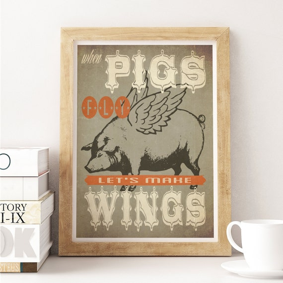 Art for kitchen decor pig art flying pig art kitchen art Pig kitchen decor