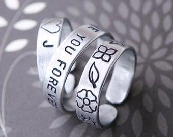 Custom ring in silver matt - promise ring - Your inscription