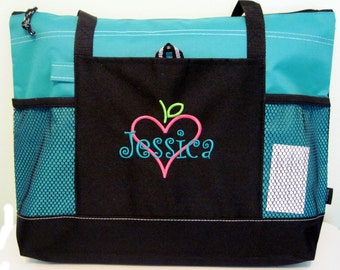 Personalized Teacher Tote Bag - Apple Books Heart - monogrammed - Free shipping