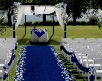 "Aisle & Event Runner ~ Blue ~ 50 ft L x 38"" W ~ Puncture Resistant! Weddings ~ Graduations"