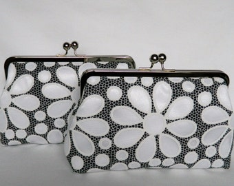 Set of Two Floral Daisy Clutch Purses, Bridesmaids Clutch, Wedding Clutch Purses, Evening Clutch Purse, Monochrome Clutch