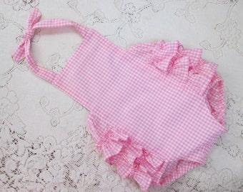 Pink Gingham Ruffled Bubble Romper - Size Options - Birthday - Cake Smash - Vintage-Style Sunsuit - Ruffled Playsuit - Optional Headband