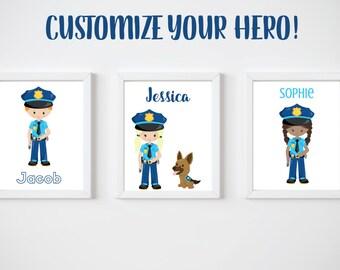KIDS Room Printable Art, Custom Police Officer Digital Print, CUSTOM Download Digital File 8x10 Digital Print