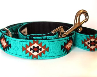 Teal Tribal Dog Leash, Southwestern Leash, Fabric & Webbing Lead, 4ft 5ft or 1.5 foot Traffic Lead, Dog Accessories, Designer Dog Leash