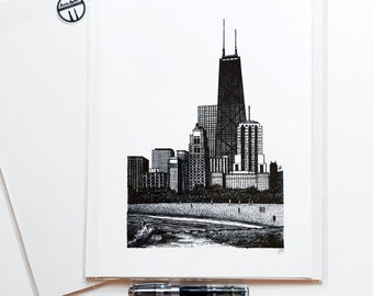 "Hand Drawn, Pen and Ink, Chicago Skyline, Lake Michigan, 8""x12"" Giclee Print of Original Drawing"
