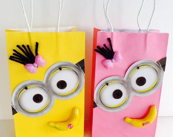 Girl Minion Inspired Favor Bags, Pink Favor Bags,Favor Bags. Party Bags.