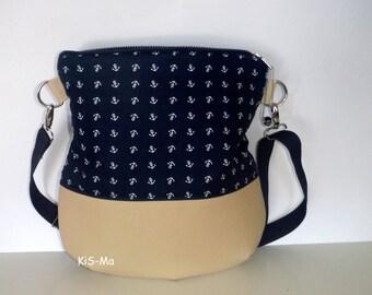 Shoulder bag shoulder bag anchor blue light brown cotton faux leather polyester 34 x 36 cm