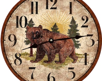 Rustic Bear Clock
