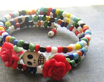 Day of the Dead Bracelet Frida Sugar skull 3 loops Mexican style Gothic