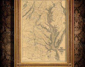 Chesapeake Bay Map. 1861 Restoration Hardware Style Vintage map of Chesapeake Bay, Maryland, Virginia, Delaware Old Nautical chart wall map
