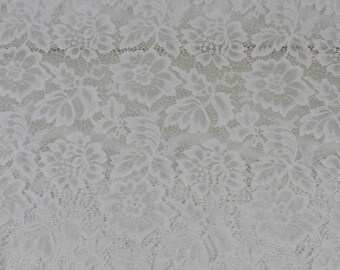 Off White Beauty Coleen Pattern Floral Stretch Lace Fabric by Yard - Style 647