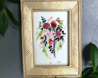 Floral Bouquet Gouache Mini Original Painting with Gold Frame