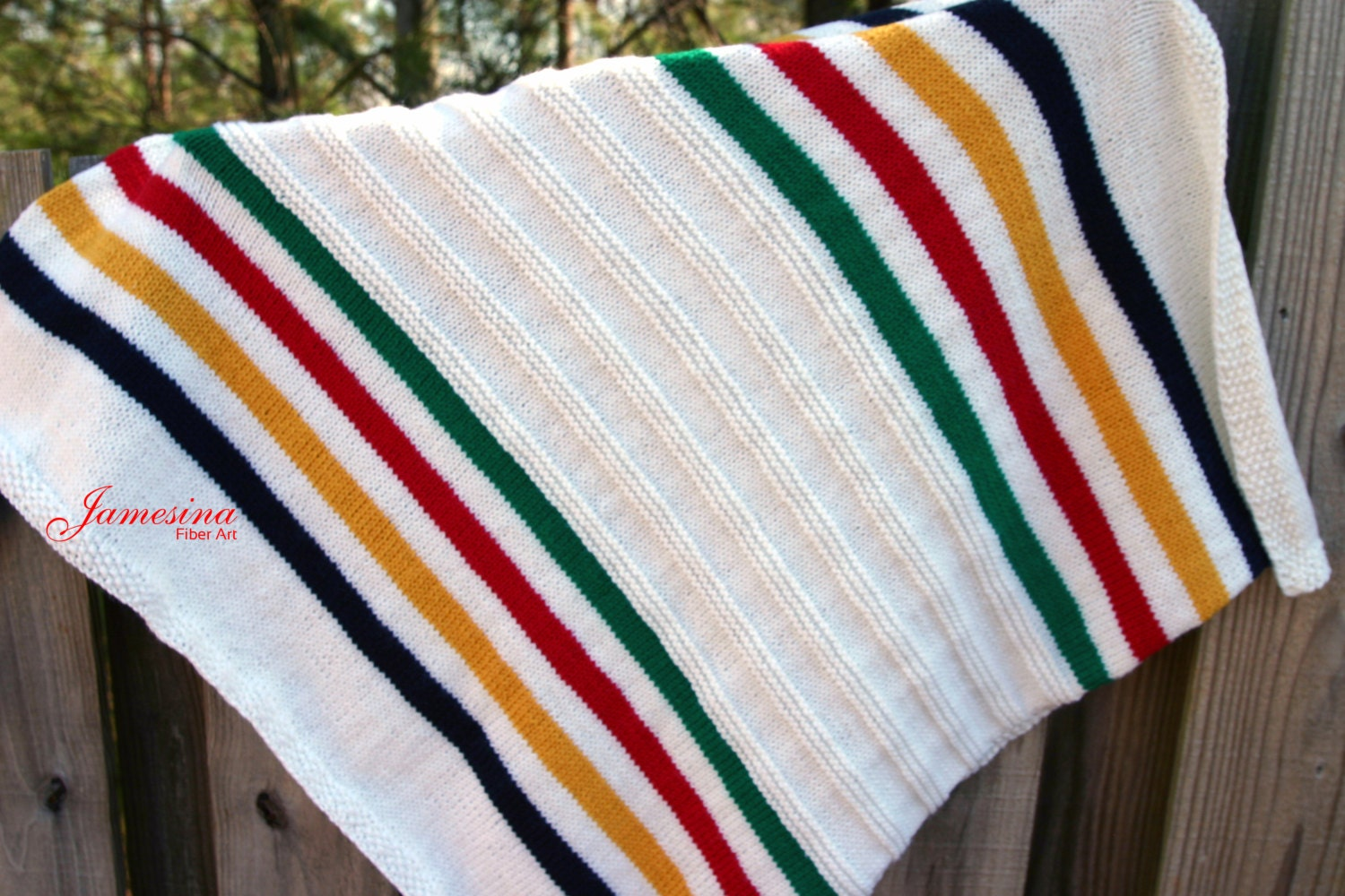 Knitting Pattern For Hudson Bay Blanket : Hand Knit Hudson Bay Inspired Textured Baby Blanket