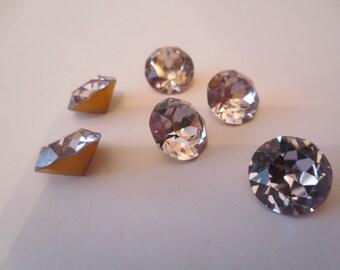 Vintage 70's New Swarovski Crystal Dentelles,Art.1200,SS 55,Light Amethyst Color ,Gold Foil,Quantity 6 crystals