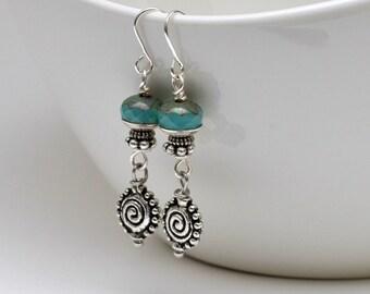 Earrings, Turquoise Earrings, Boho Earrings, Drop Earrings, Dangle Earrings,Silver Earrings, Jewelry, Accessories, Czech glass Earrings