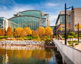Autumn color & Gaylord National Resort,  National Harbor, Maryland.   Photo Print, Stretched Canvas, or Metal Print.