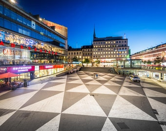 View of Sergels Torg at night, in Norrmalm, Stockholm, Sweden. | Photo Print, Stretched Canvas, or Metal Print.