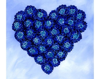 blue heart on paper