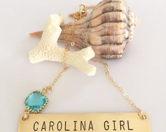 Carolina Girl Bar Necklace Gold Fill Stamped UNC Tarheels Blue College Personalized Nameplate Layering Necklace Bohemian Custom