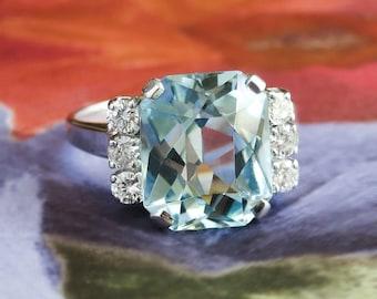 Vintage Estate 1940's 6.62ct t.w. Mixed Cushion Cut Aquamarine & Diamond Ring 14k