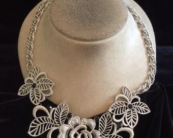 Vintage Chunky Signed NY Black Rhinestone Rose Necklace