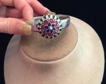 Vintage Blue Red & Black Enameled Bracelet
