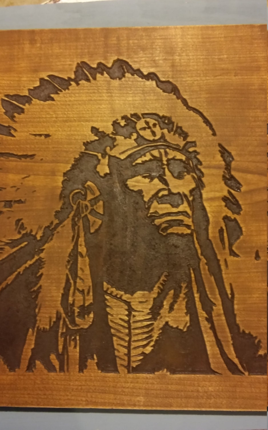 Native American Indian Wood Carved Wall Art Hanging