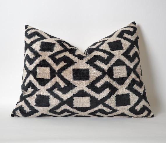 Throw pillows black and white Velvet Ikat Pillow Cover by pillowme