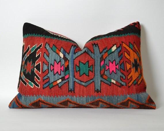 Kilim Pillow Cover 16x24 Decorative Kilim Pillows Red Black
