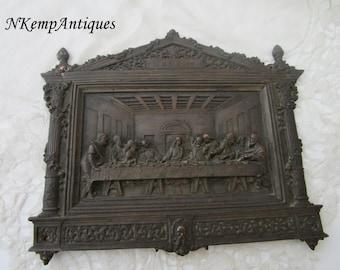 Antique religious plaque 1900 metal