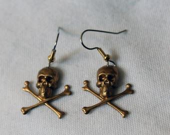 "Dangling earrings. ""Tiny Skulls & Bones"" - golden"