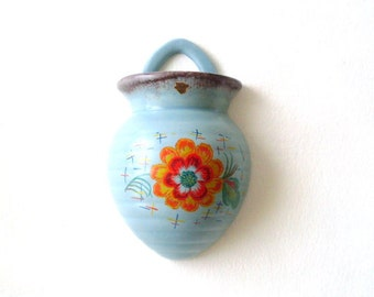 Vintage German Pottery wall-pocket with floral decoration by Villeroy & Boch