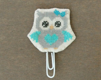 Owl paperclip Grey & Light Blue