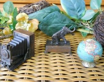 Vintage 1960's-70's Collectible Metal Pencil Sharpeners ~ Set of Three Globe, Camera and Mammoth ~ Made in HONG KONG~ Natural Bounty Vintage