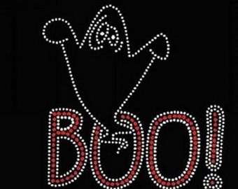 Boo Rhinestone Iron on Transfer 7R7C