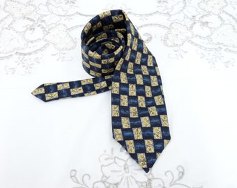 Men's Silk Neck Tie, M & S, Marks and Spencer, Navy Blue and Cream, Yellow and Grey, Retro, Silk Tie, Menswear, Accessories,