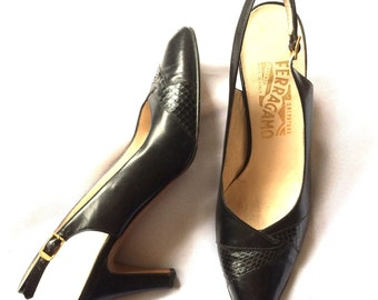 1980s Salvatore Ferragamo Sling-Back Black Leather Heels Sz 7 1/2 3A