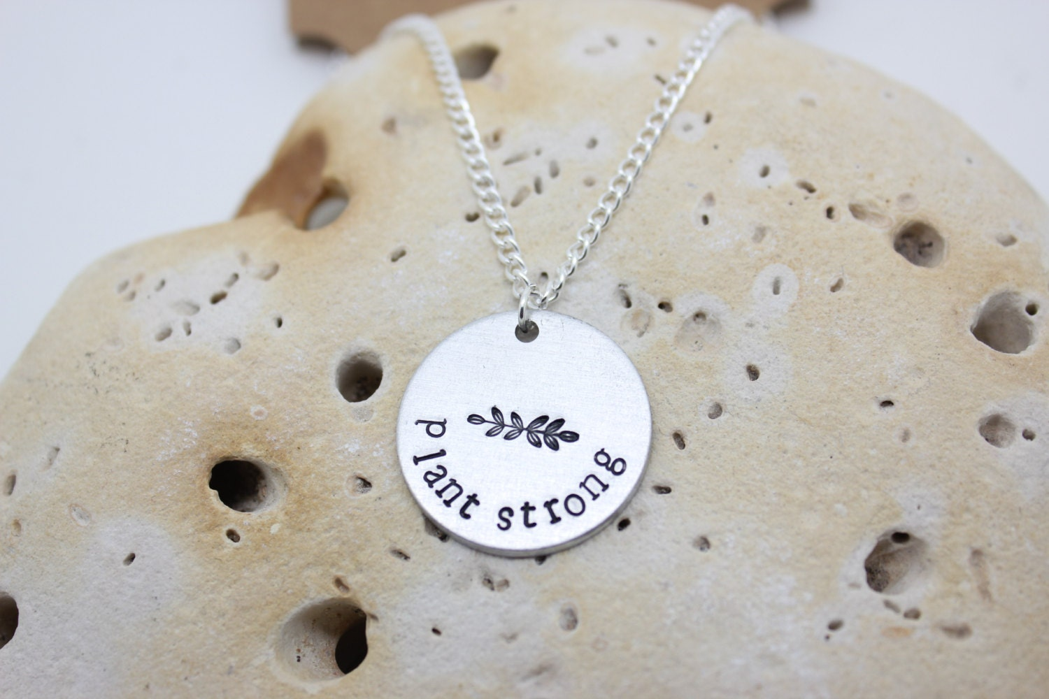 """Vegan jewellery - vegan necklace - jewelry - plant strong - animal rights jewellery - handstamped 2.5cm pendant on 18"""" chain"""