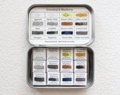 The Sunshine & Shadow Palette, 12 Magnetized Half-Pans of Greenleaf and Blueberry Handmade Watercolors, Travel Watercolor Set