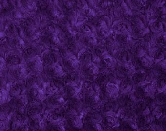 Purple Rosebud Minky Fabric, Sold by The Yard 6011