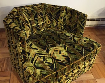 SALE-HARVEY PROBBER for Forecast Furniture Vintage Modern Tub Chair in Geometric Black Green and Gold Chenille