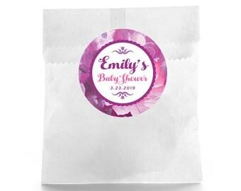 Floral Baby Shower - Baby Shower Favor Labels - Baby Shower Favor Stickers - Custom Favor Sticker - Baby Shower Favor