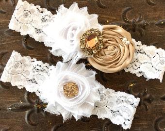 Wedding Garter Gold, Wedding Garter Champagne, Champagne Bridal Garter, Rustic Garter Set, Champagne Wedding Garter, White Garter Set