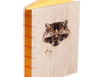 "Wooden Handcrafted Coptic Journal ""Raccon"""