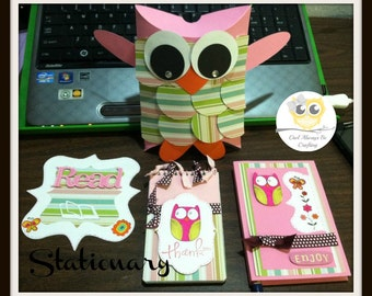 Made to Order Owl Stationary Set/Sticky Note holder with Pen/Bookmark/Pillow Box/Notepad/Planners/Stationary Organizer/Organization/Planner